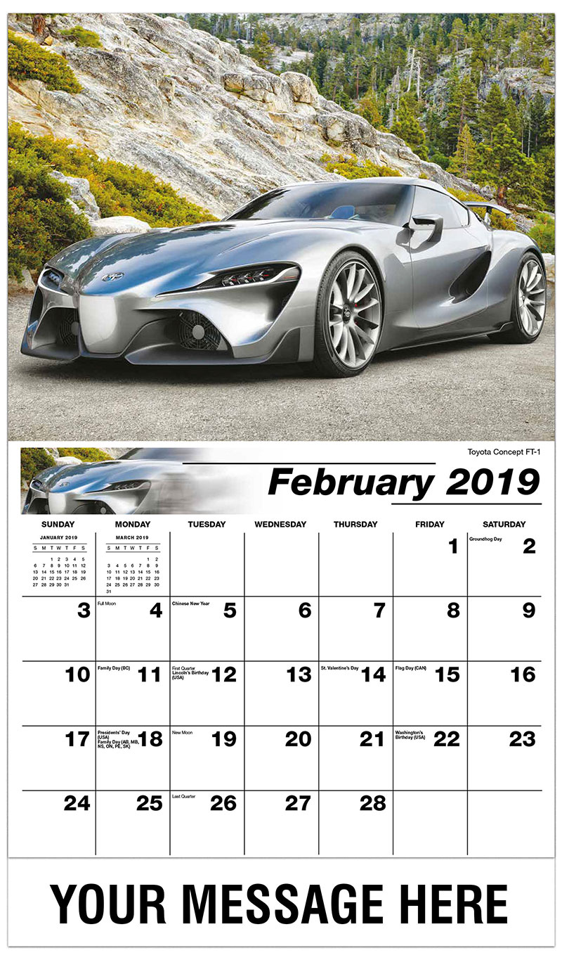 Car Calendar February 2019 Exotic Cars | SOS Promo Products